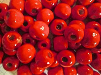 Red Shiny Wood Beads 10mm